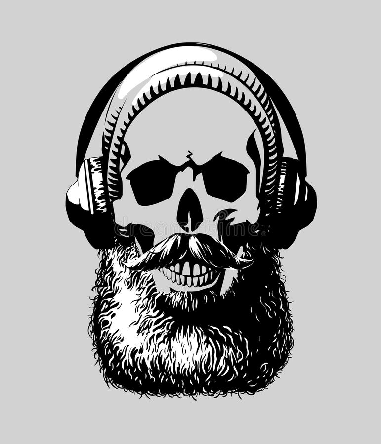 Hipster skull. With mustache and beard, in headphones. Vector illustration. Perfect for t-shirt print and tattoo royalty free illustration