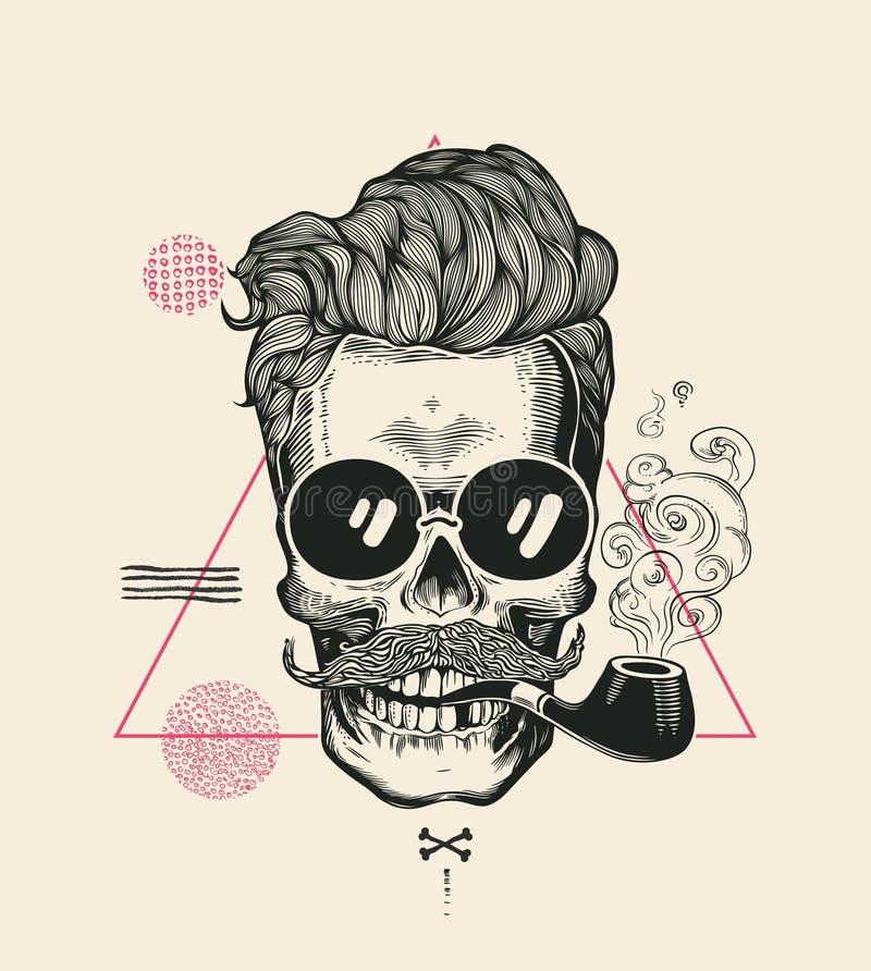 Hipster Skull Smoke Pipe Vector Illustration Print. Cool Mustache Skeleton Face in Sunglasses. Urban Modern Hair T-Shirt vector illustration