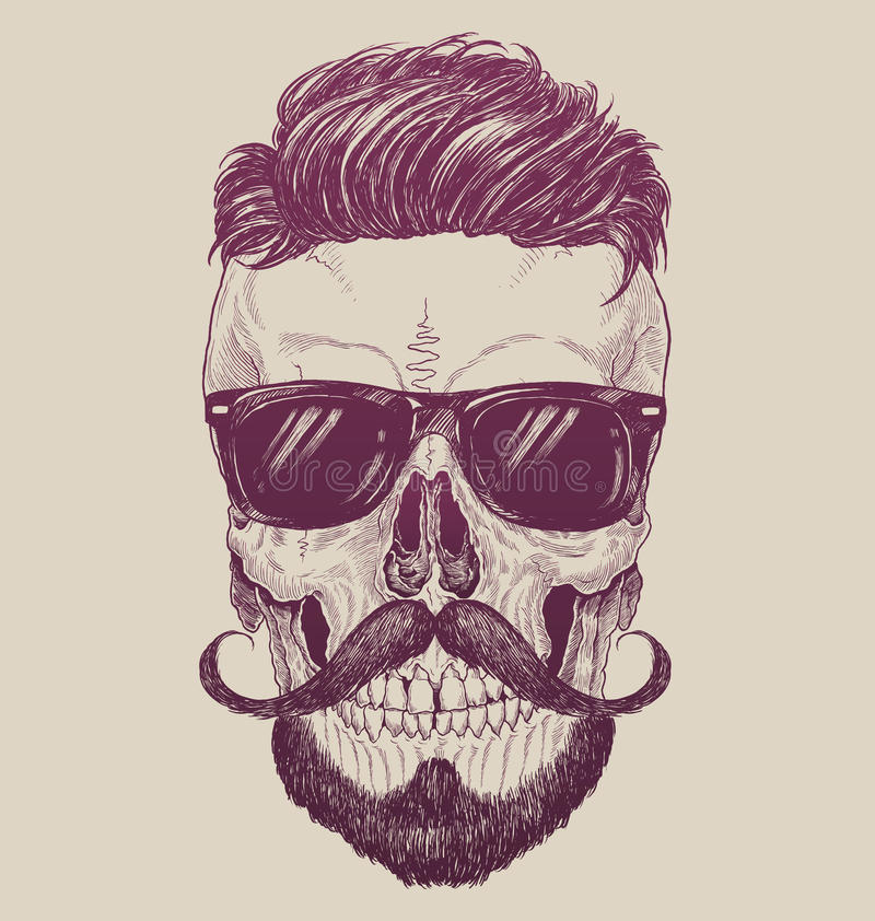 Hipster skull with sunglasses, hipster hair and mustache.  vector illustration