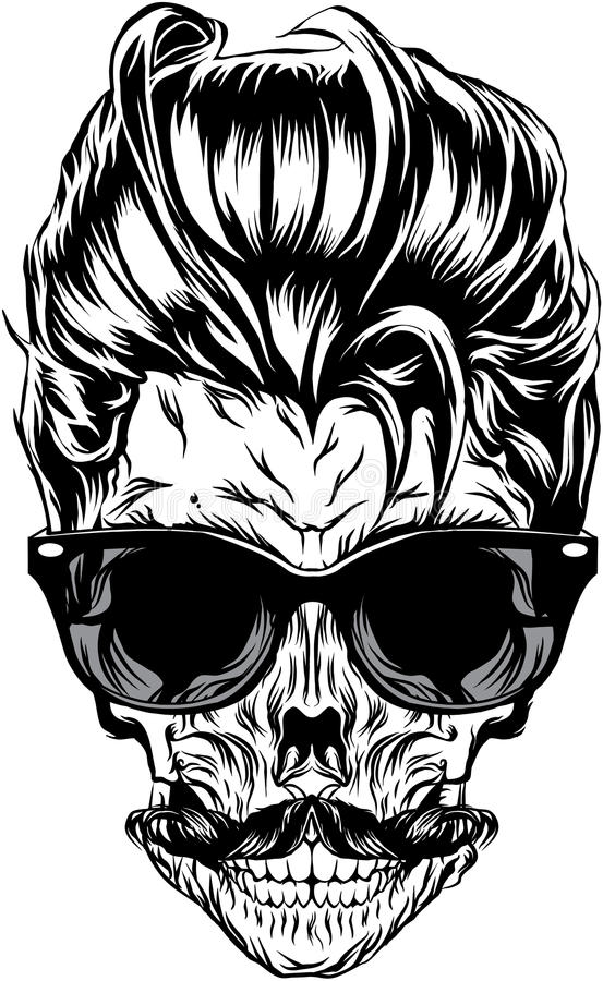 Hipster skull with sunglasses, hipster hair and mustache vector illustration