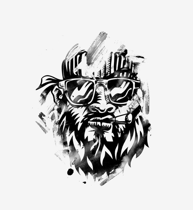 Free Hipster Smoker Man. Hand-drawn Hipster Dude With Mustache And Beard. Weed Cigarette Stock Images - 174751204