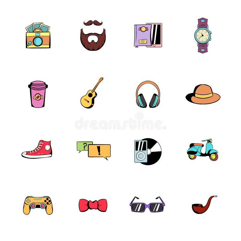 Hipster style comics icons set cartoon. Hipster style comics icons set in cartoon style isolated on white background illustration royalty free illustration