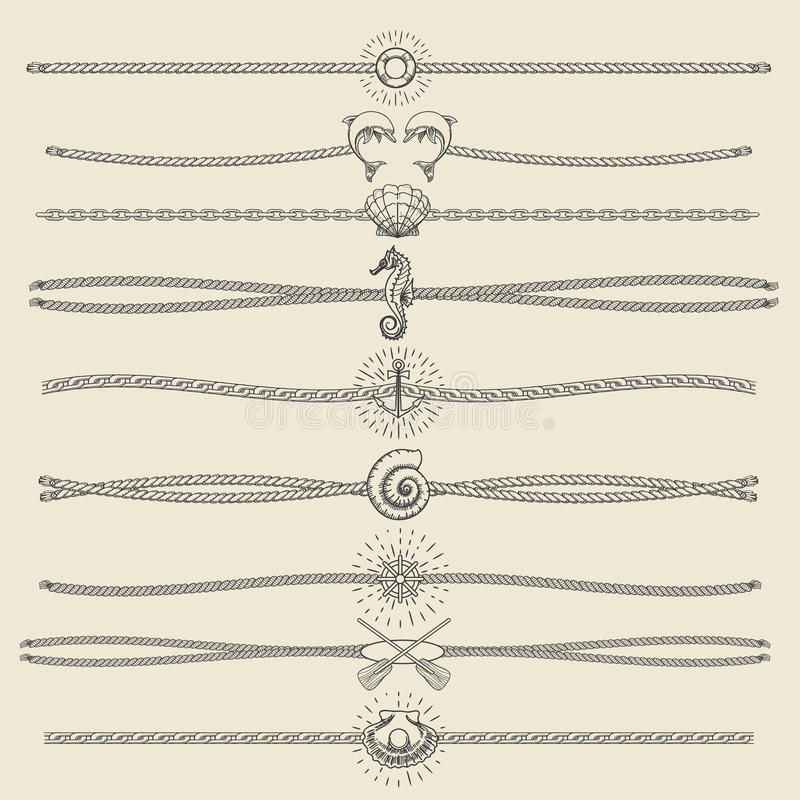 Hipster Style Hand Drawn Nautical Divider Set royalty free illustration