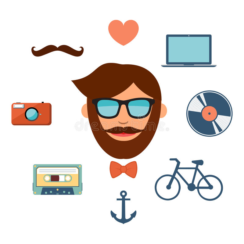 Hipster style icons set on white background. Hipster style color icons set on white background royalty free illustration