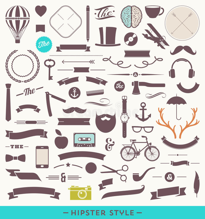 Hipster style set vector illustration