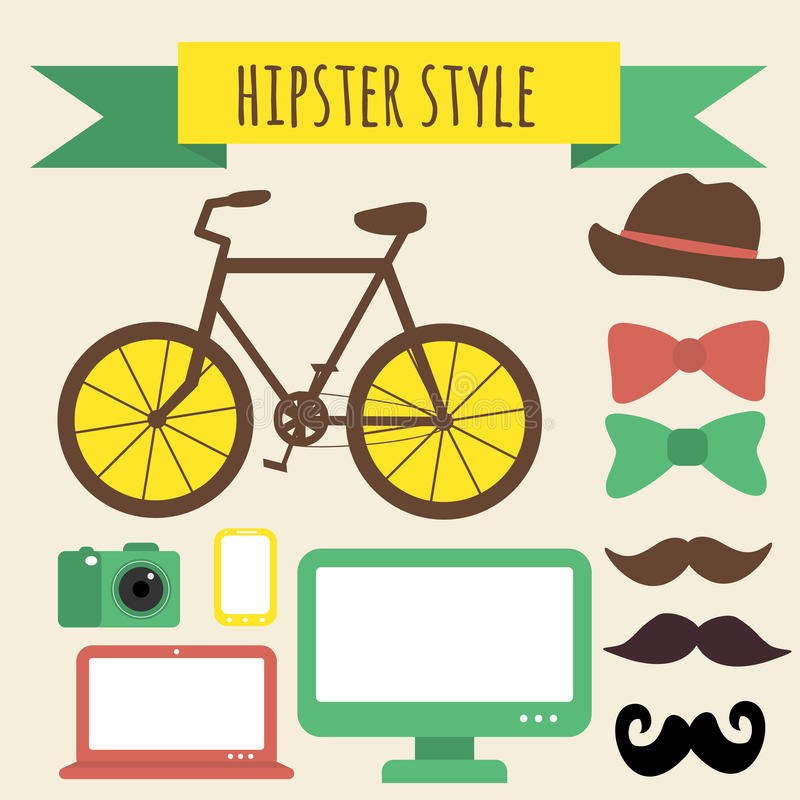 Hipster Style Set. Stuff for Real Fashion Man stock illustration