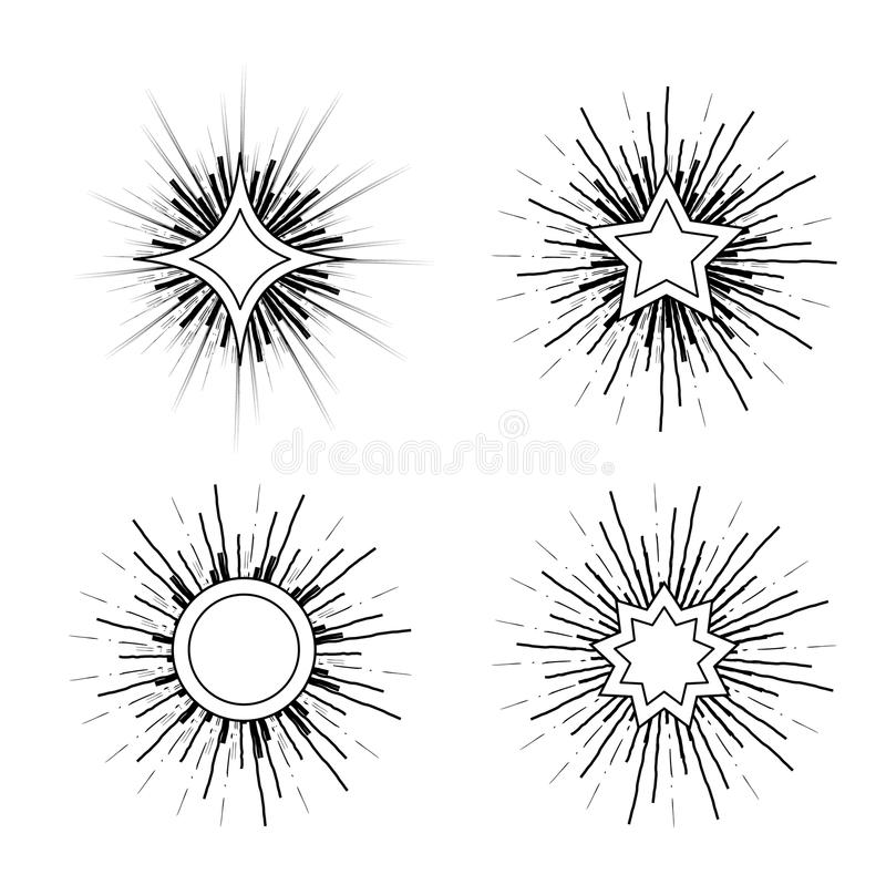 Hipster Style Vintage Star Burst With Ray Stock Vector