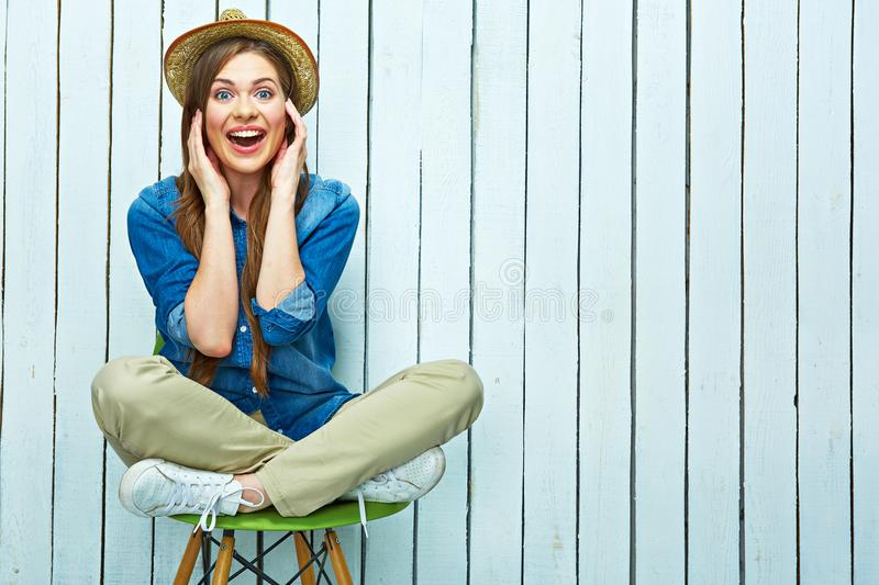 Hipster style woman portrait. Happy young woman smile. royalty free stock image