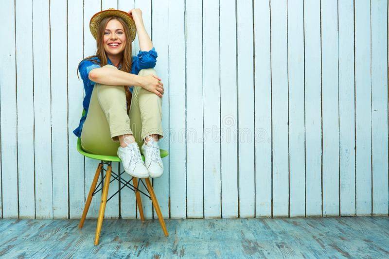 Hipster style woman portrait. Happy young woman smile. royalty free stock photo