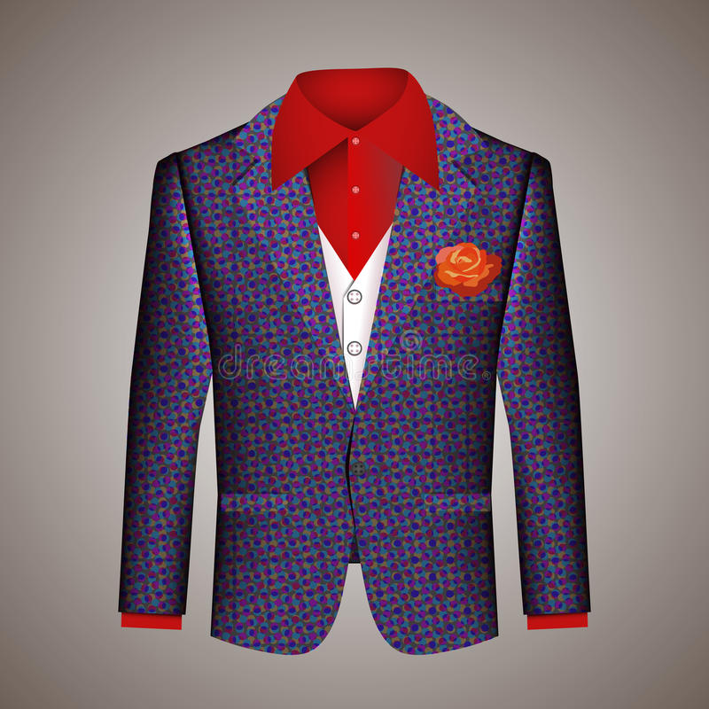 Hipster suit of mens clothing. With an elegant tailored blue jacket with a pattern white waistcoat and red shirt with a matching red floral buttonhole on a grey stock illustration