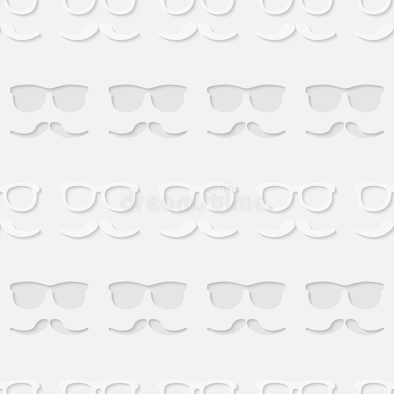 Hipster sunglasses and mustache seamless pattern vector illustration