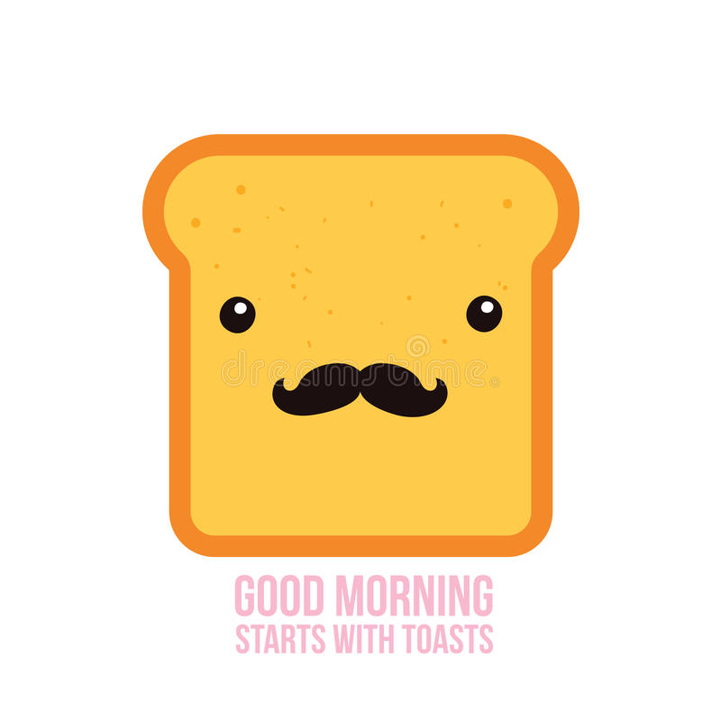 Hipster toast bread Funny Cartoon character with mustache. Vector illustration stock illustration