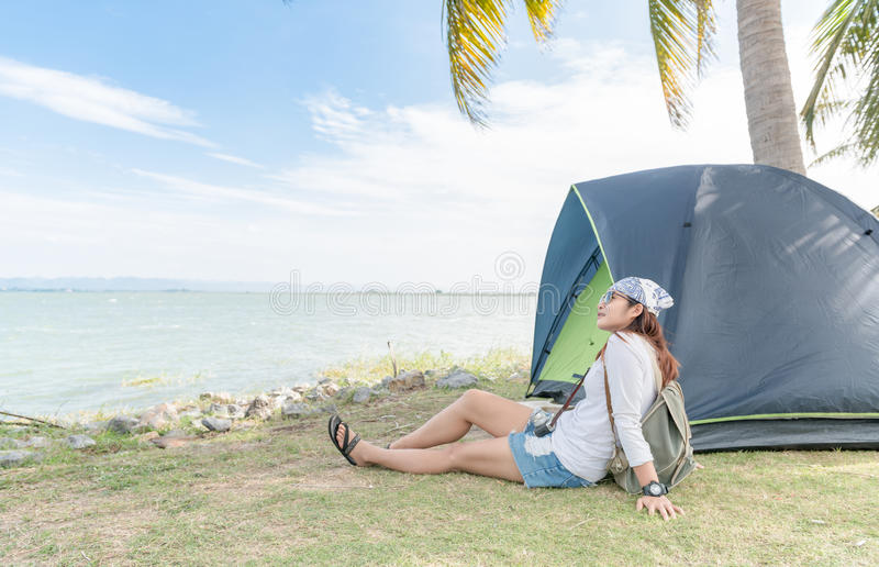 Download Hipster Traveler Woman Relax With Tent On Dam Location Stock Image - Image of tourist & Hipster Traveler Woman Relax With Tent On Dam Location Stock Image ...