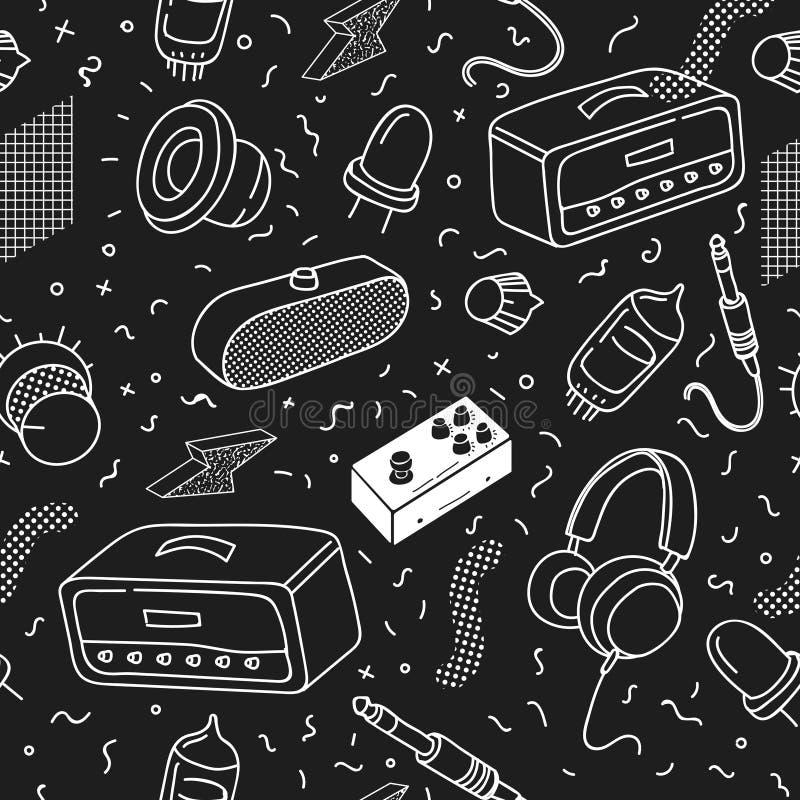 Hipster Uitstekend Naadloos Patroon Zwart-wit Memphis Abstract Trendy Background voor Stof, Affiche, het Behandelen royalty-vrije illustratie