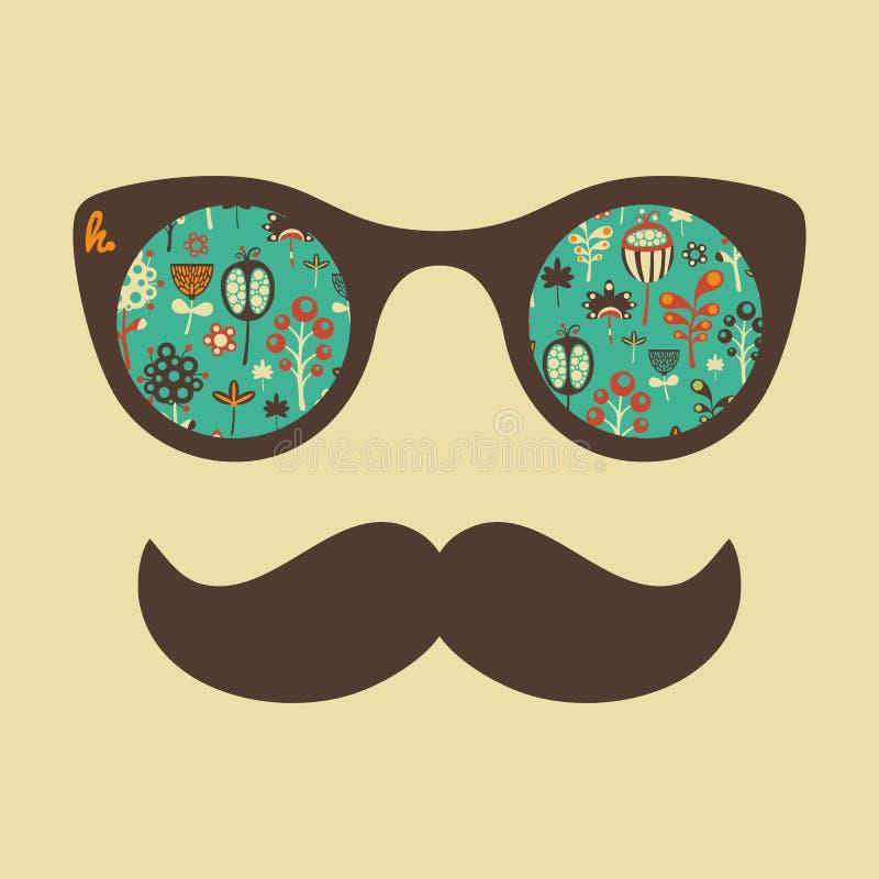 Hipster uitstekende zonnebril met kleurrijke bloemen stock illustratie