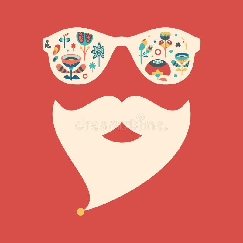 Hipster uitstekende zonnebril met kleurrijke Kerstmisbloemen vector illustratie