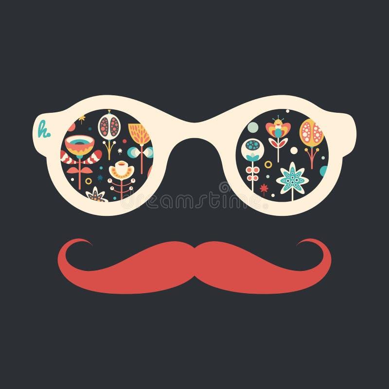Hipster uitstekende zonnebril met kleurrijke Kerstmisbloemen op donkere achtergrond royalty-vrije illustratie