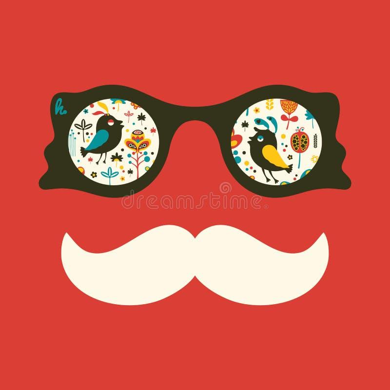Hipster uitstekende zonnebril met kleurrijke vogels en bloemen stock illustratie