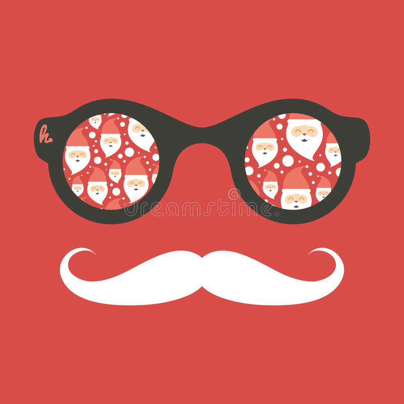 Hipster uitstekende zonnebril met Santa Claus royalty-vrije illustratie