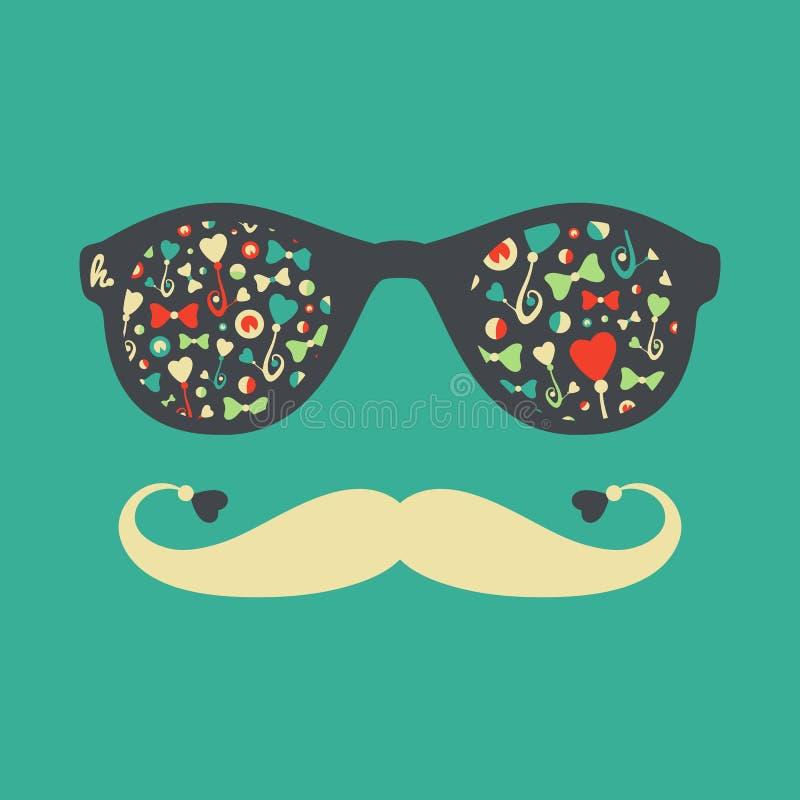 Hipster uitstekende zonnebril met vlinders en harten stock illustratie