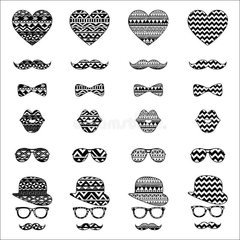Hipster Vintage Icon with Aztec Pattern Background vector illustration