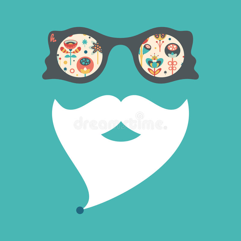 Hipster vintage sunglasses with colorful Christmas flowers and leaves. vector illustration