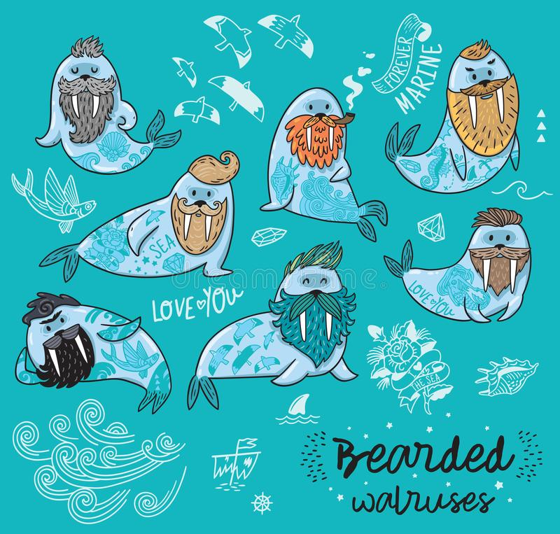Hipster walruses with beards and tattoos in cartoon style. Vector illustration. Bearded walruses set on blue background. Vector cartoon characters of funny vector illustration