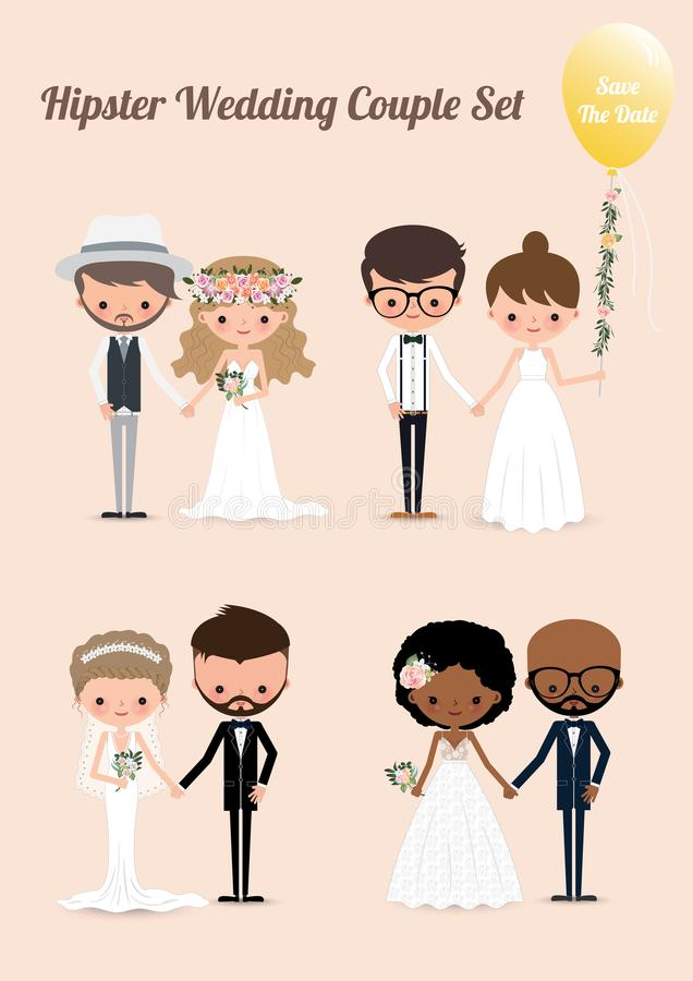 Free Hipster Wedding Couple Set 02 Stock Photography - 112375672