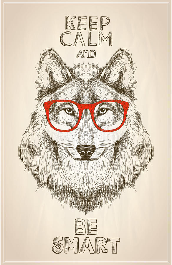 Hipster wolf portrait with glasses, hand drawn graphic illustartion stock illustration