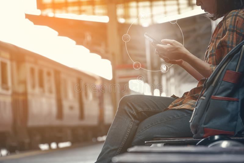 Hipster woman backpacking and searching a destination stock photos