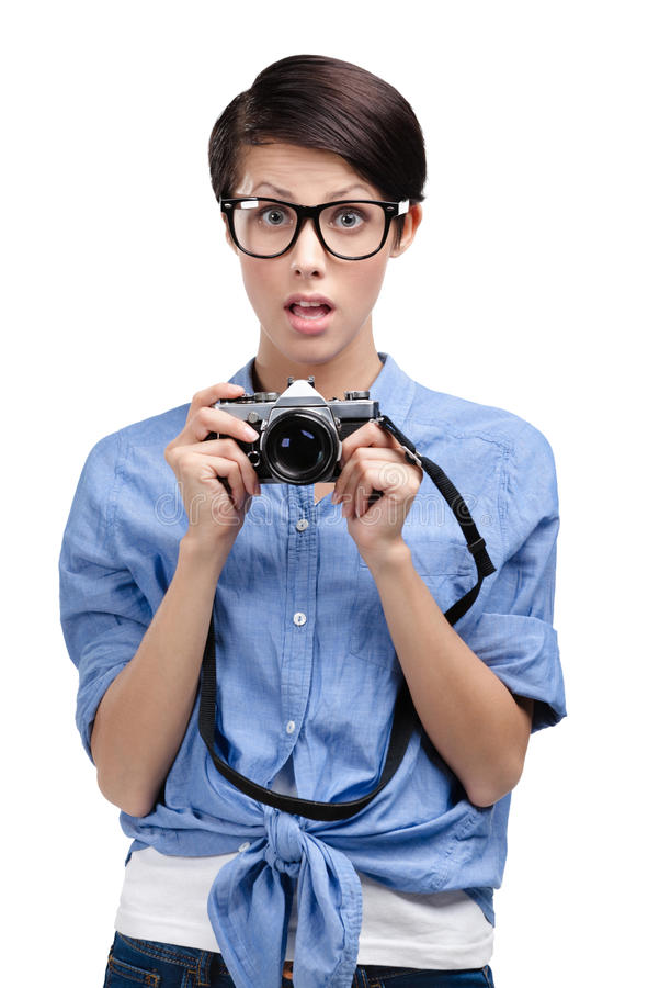 Download Hipster Woman Hands Retro Photographic Camera Royalty Free Stock Photography - Image: 26323397