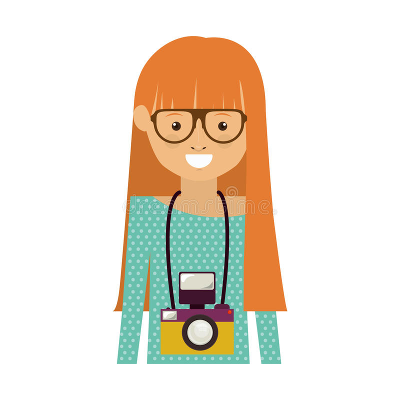 Hipster woman icon. Avatar hipster woman smiling with photographic professional camera around her neck over white background. vector illustration royalty free illustration