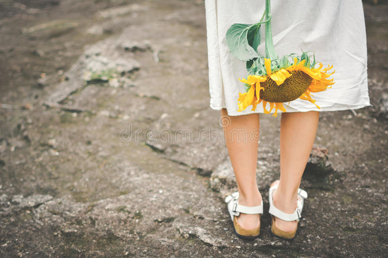 Download Hipster Women Hand Holding Sunflower Stock Image