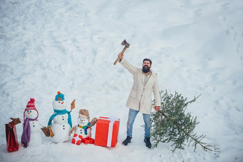 Hipster woodsman with Christmas tree. Man is going to cut a Christmas tree. Christmas tree cut. Bearded Man cutting stock images