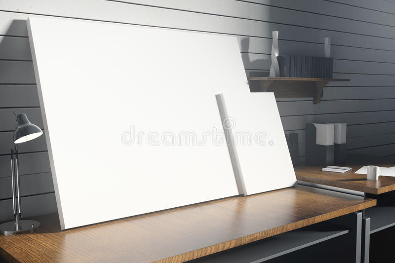 Hipster workplace with blank canvas. Close up of hipster workplace with empty canvas on white brick wall background. Mock up, 3D Rendering stock illustration