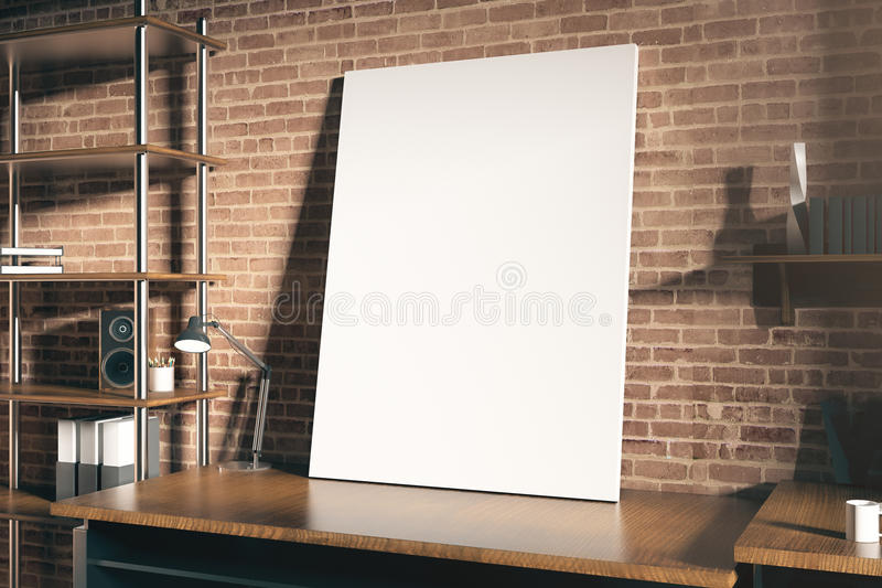 Hipster workplace with blank placard. Close up of hipster workplace with empty white placard on red brick wall background. Mock up, 3D Rendering royalty free illustration