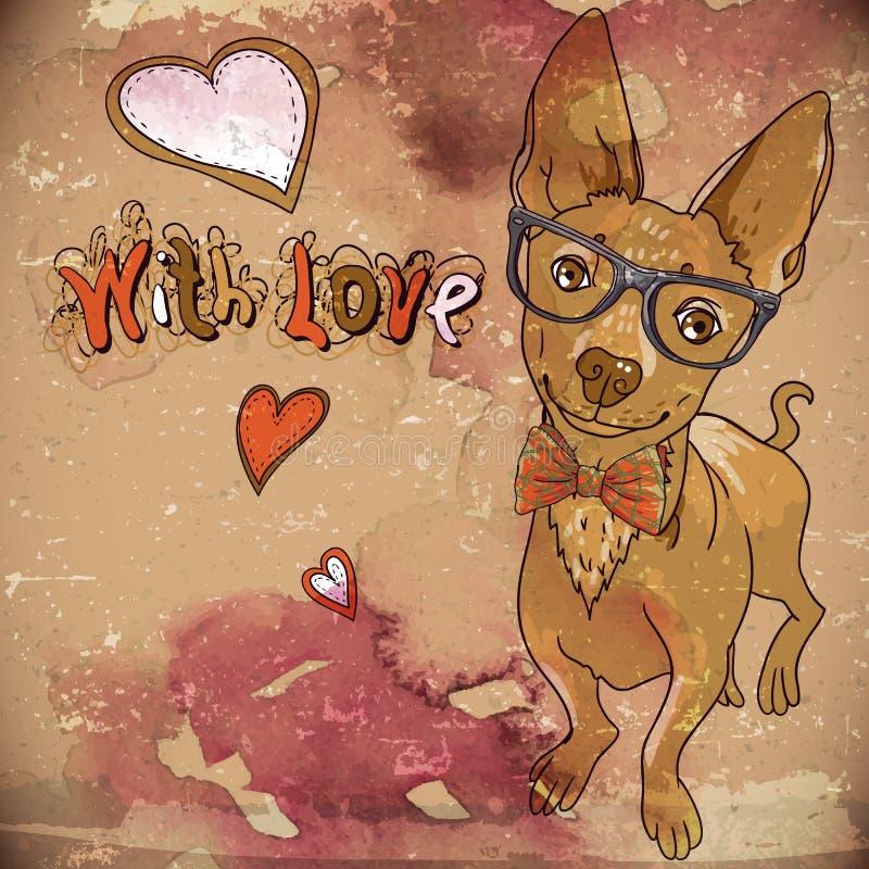 Hipsterachtergrond met een hond en harten stock illustratie
