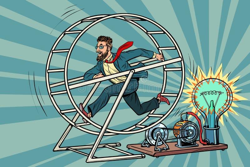 Hipsteraffärsmannen producerar elektricitet, maktgenerator stock illustrationer