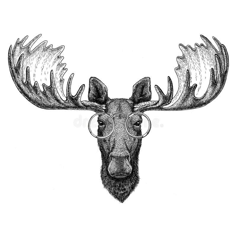 Hipsteramerikaanse elanden, elanden die glazenbeeld voor tatoegering, embleem, embleem, kentekenontwerp dragen vector illustratie