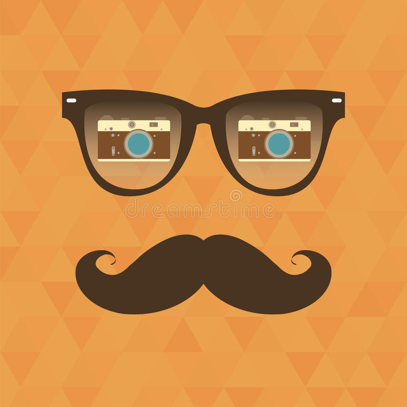 Hipsterbakgrund. Solglasögonreflexionskamera stock illustrationer
