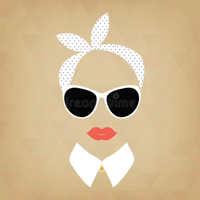 Hipsterdame met een headscarf royalty-vrije illustratie