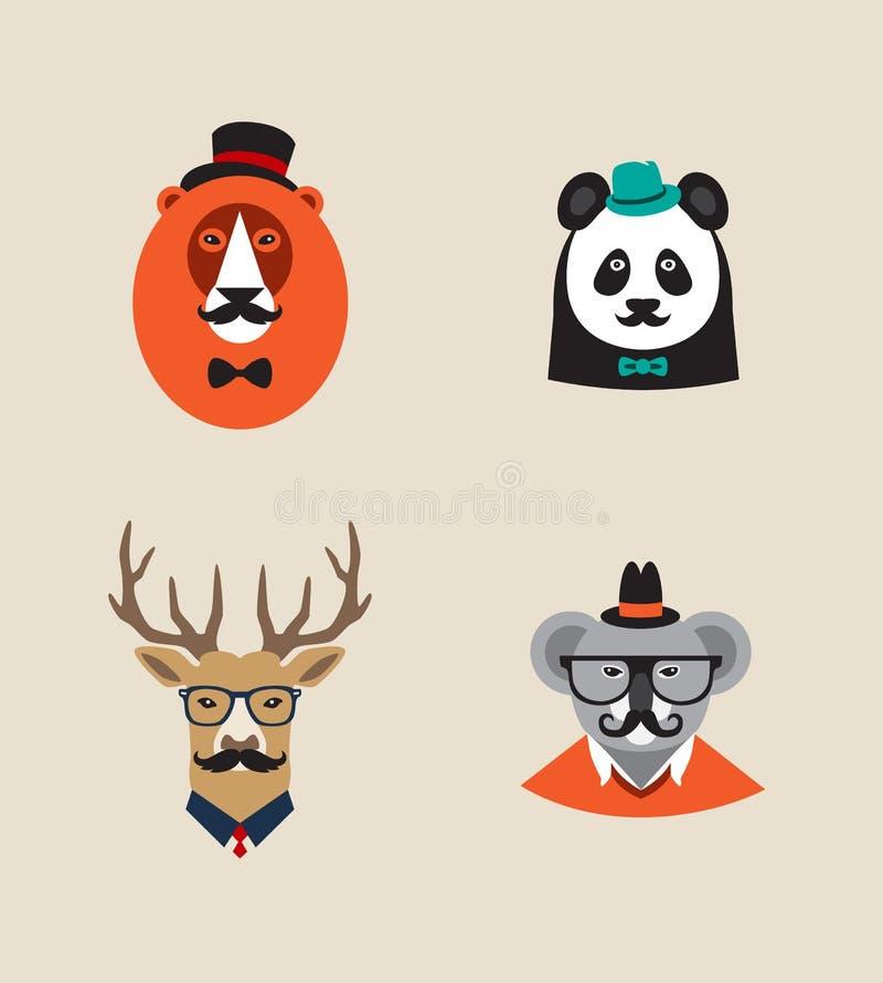 Hipsterdjuruppsättning av vektorsymboler Lejon panda stock illustrationer