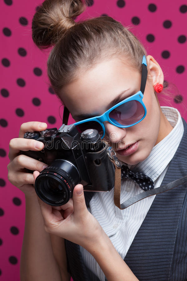 Hipsterflicka royaltyfria foton