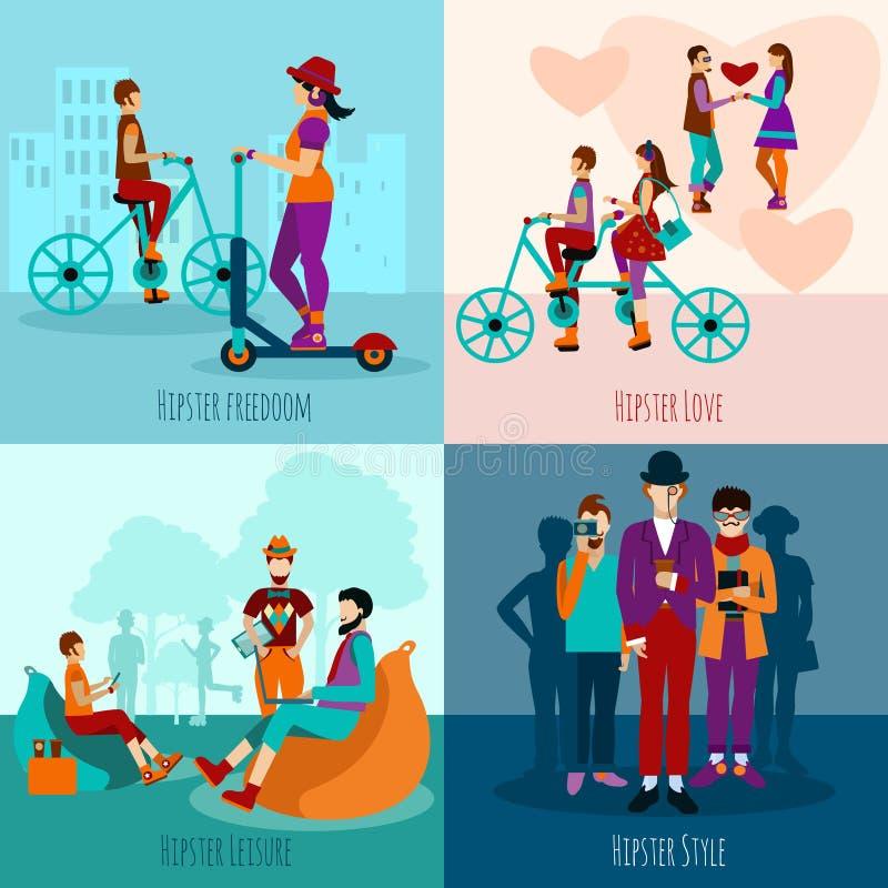 Hipsterfolket sänker uppsättningen royaltyfri illustrationer
