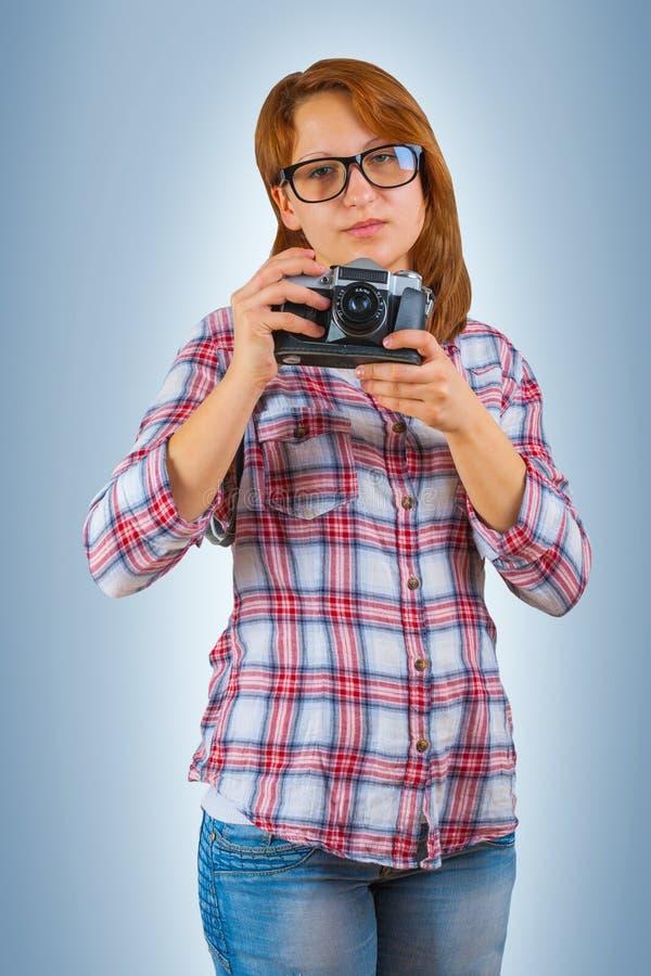 Hipstergirl με τη κάμερα στοκ φωτογραφίες με δικαίωμα ελεύθερης χρήσης