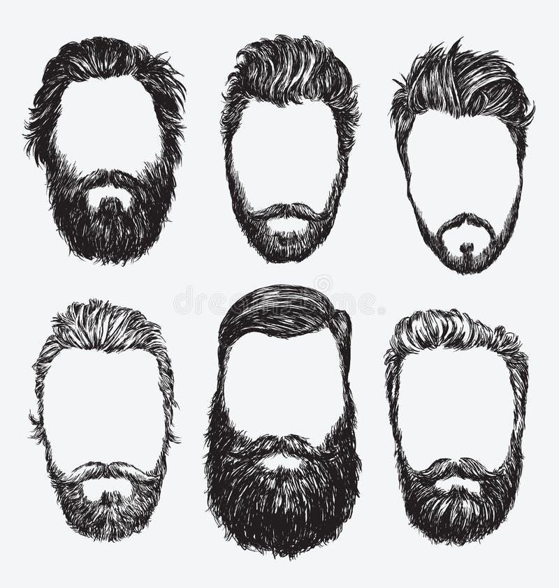 Hipsterhår och skägg, uppsättning för modevektorillustration royaltyfri illustrationer