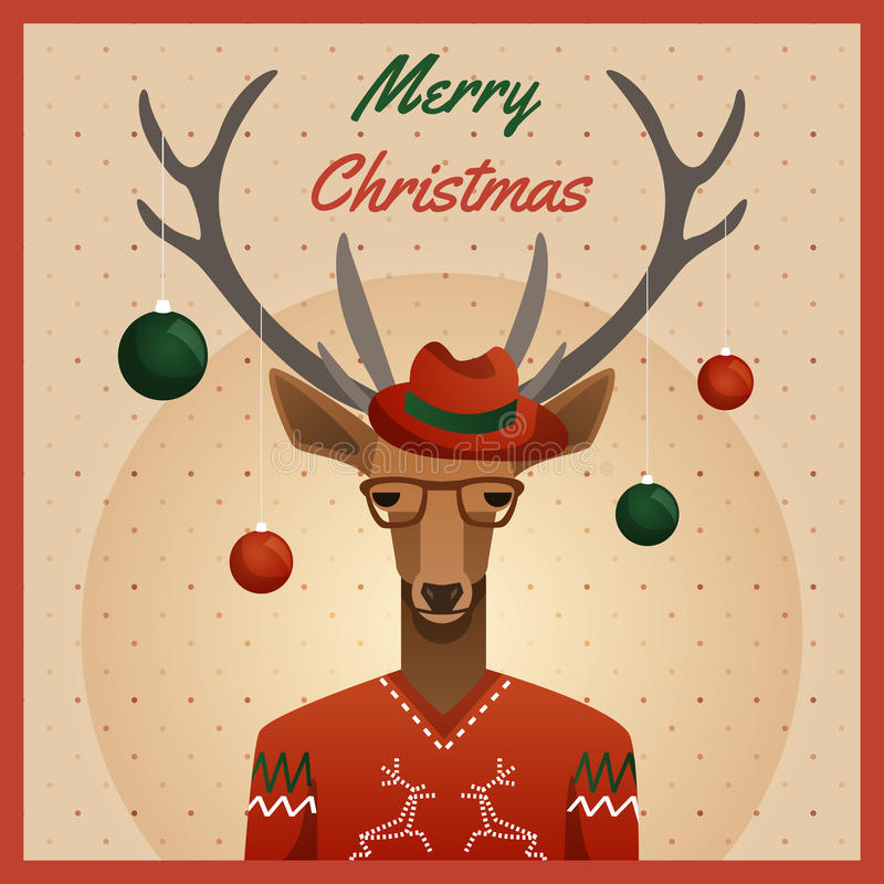 Hipsterhjortar med hatten och julbollar stock illustrationer