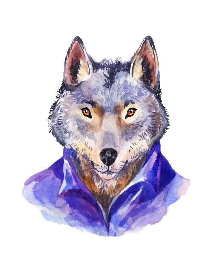 Hipsterillustration, varg i den purpurfärgade skjortan, stående av lös royaltyfri illustrationer