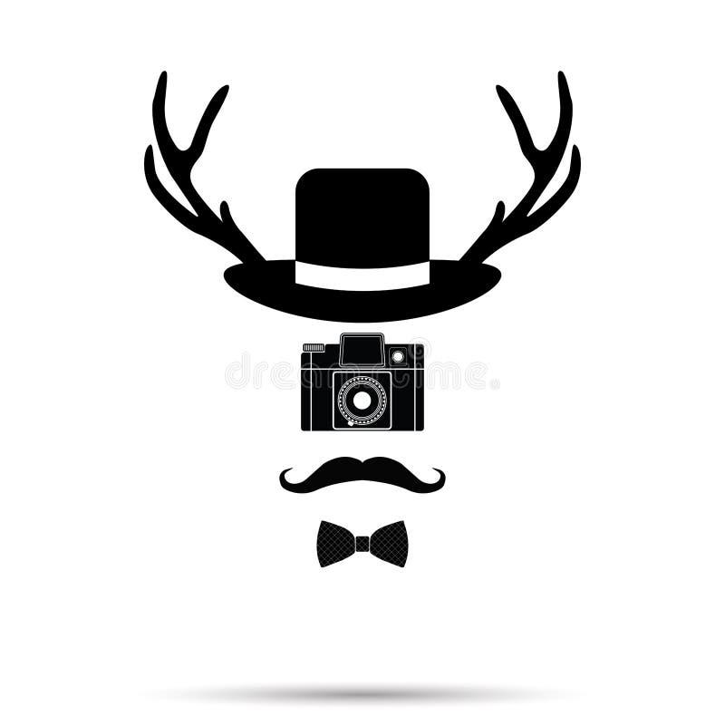 Hipsterkameraman, hatt-, Bowtie, mustasch- och hjorthorn på kronhjort Vect stock illustrationer