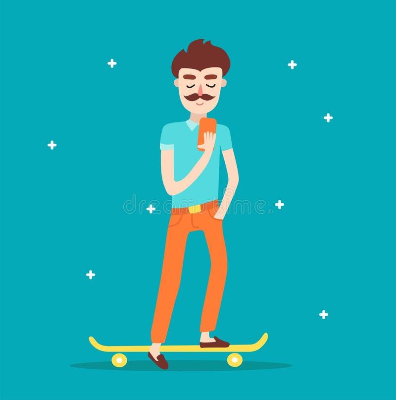 Hipsterkarakter op longboard met een mobiele telefoon stock illustratie